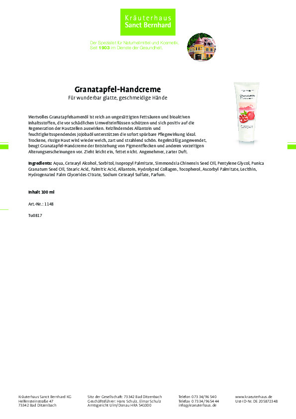 Kem dưỡng da tay Granatapfel - Hand creme